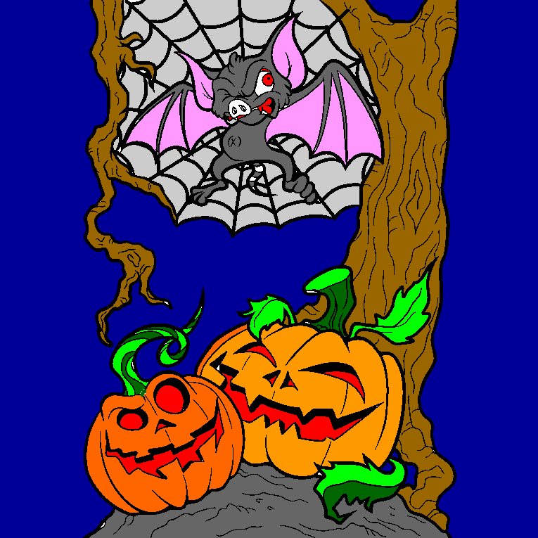 Two scary pumpkins and a bat sitting in a spiders web