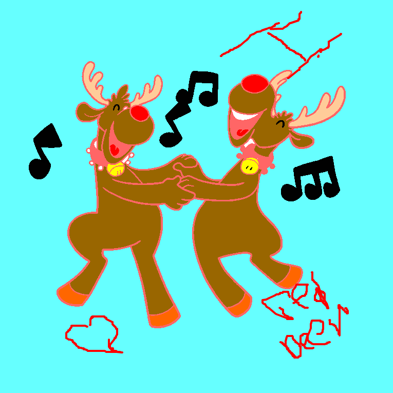 Two rain deers are dancing together