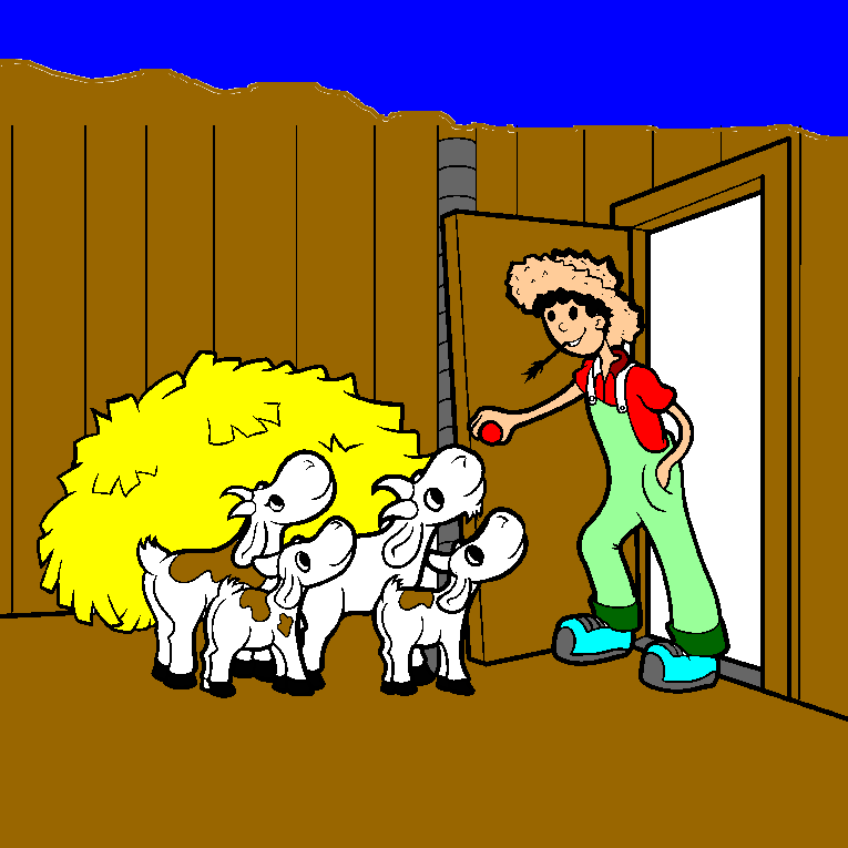 The farmer opens the door and greets his calves