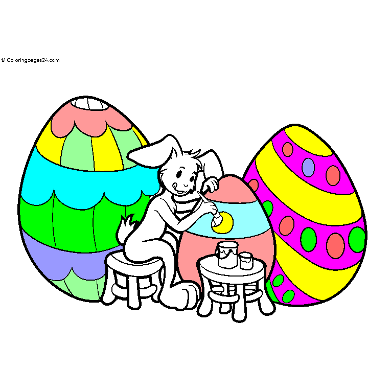 A rabbit paints Easter eggs with a paint brush