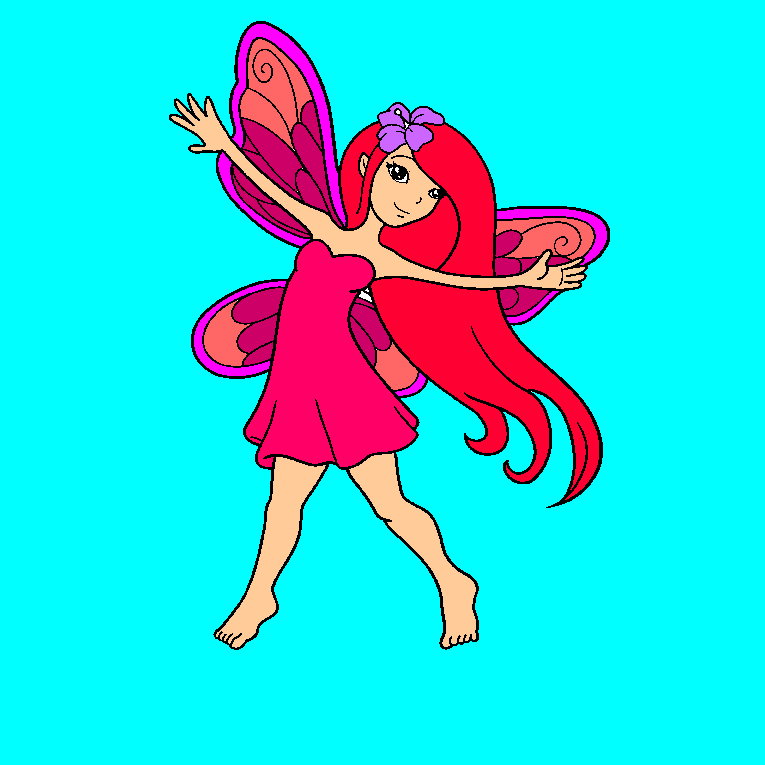 A fairy expands her hands in the air