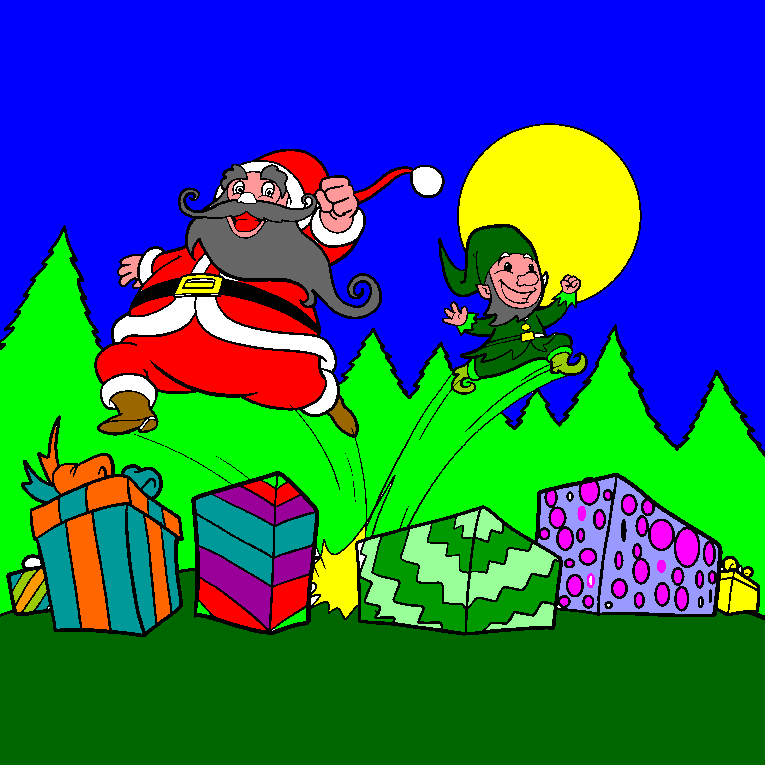 Santa and Santas little helper jumping on Christmas gifts