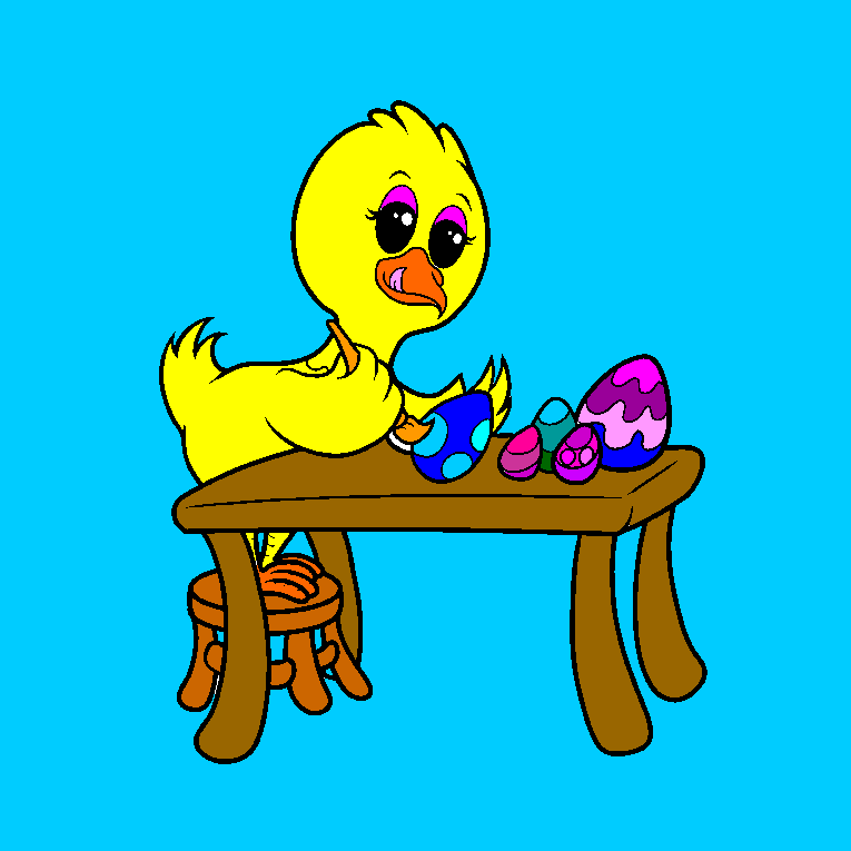 A chicken paints Easter eggs