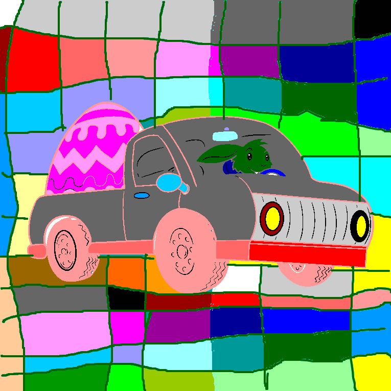 A rabbit drives a car loaded with a big easter egg