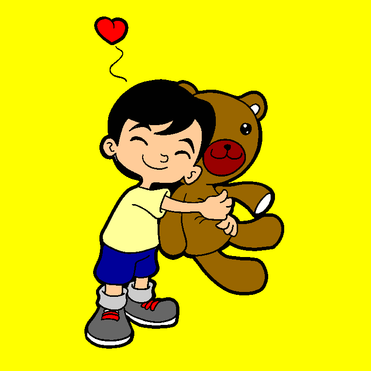 A boy hugs his big teddybear