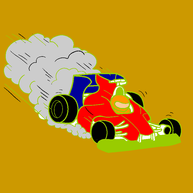 A fast race car with smoke behind