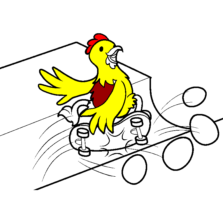 A hen rides a skateboard and do tricks with eggs