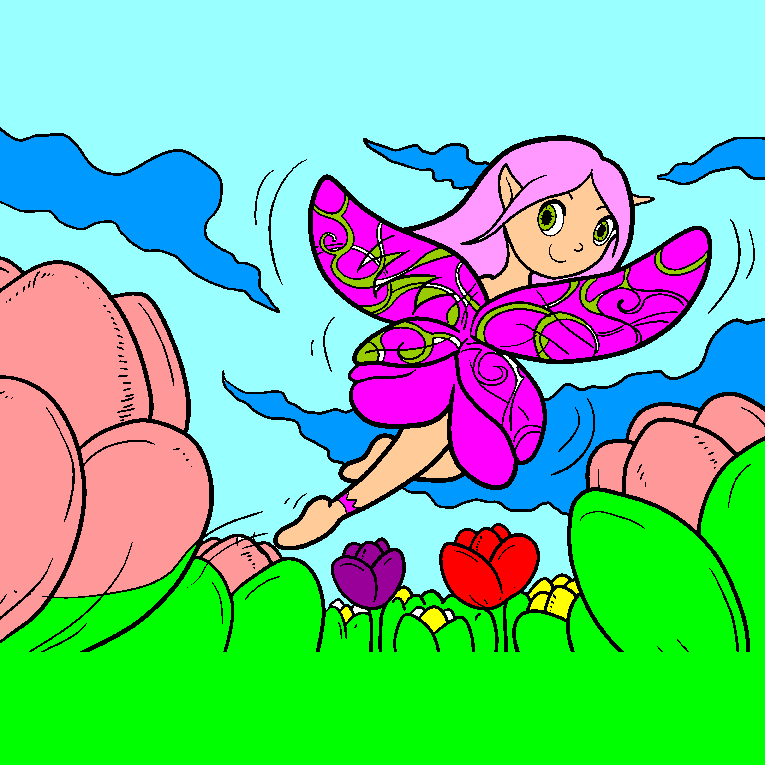 Beautiful fairy jumping on flowers