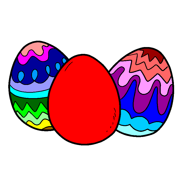 Three large Easter eggs
