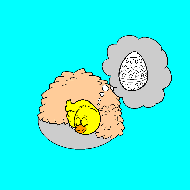 A chicken dreams of nice Easter eggs