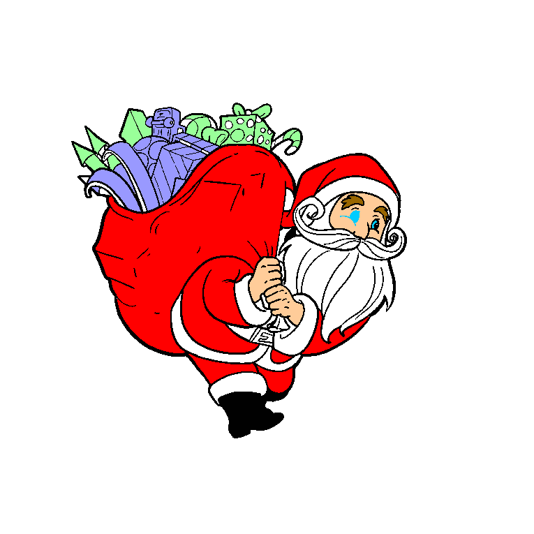 Santa Claus carrying a large bag with Christmas presents