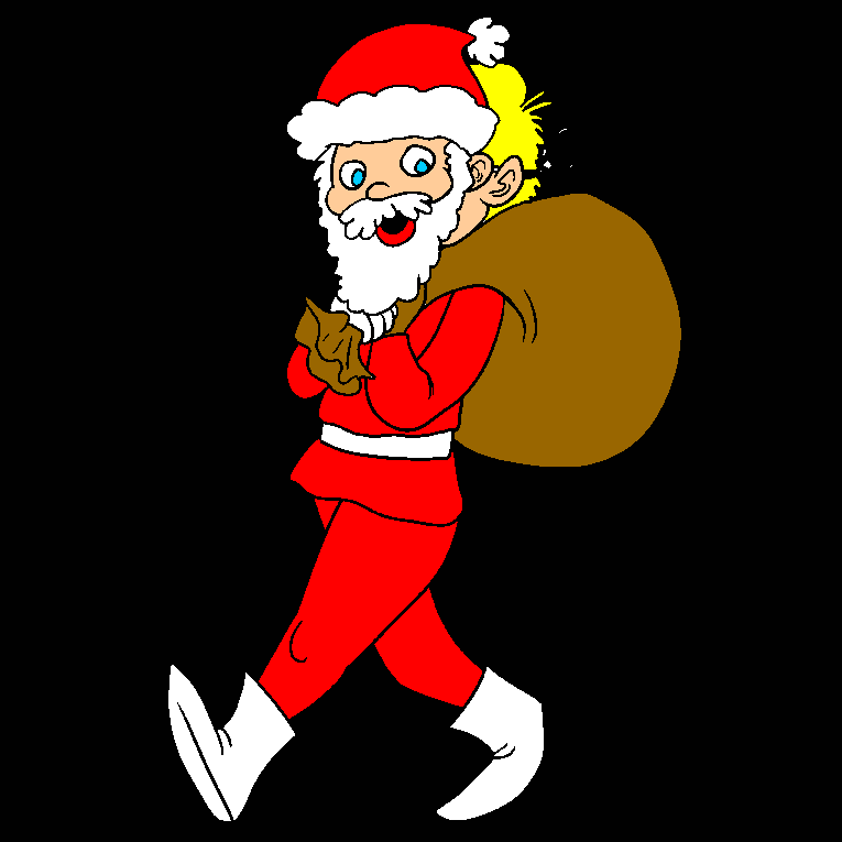 Santa is carrying a bag of presents
