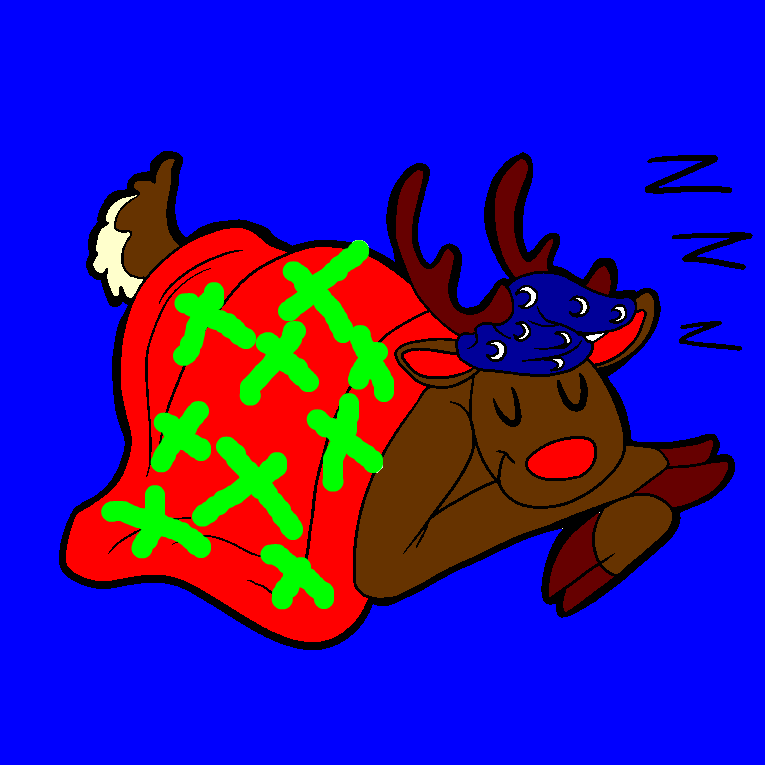 A reindeer lies and sleeps with a blanket over it
