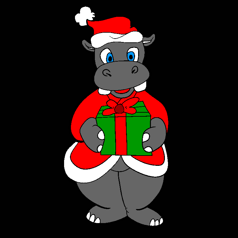 A rhino holding a Christmas presents