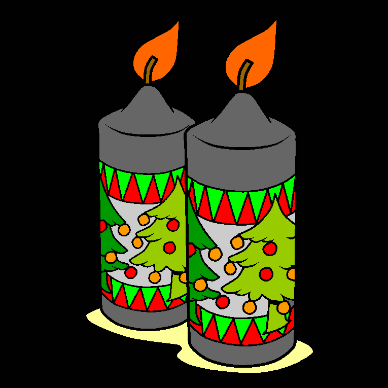 Close up of two candle lights with christmas motif