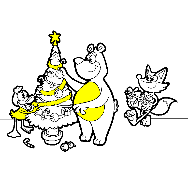 A bear, duck and fox dressing up a Christmas tree