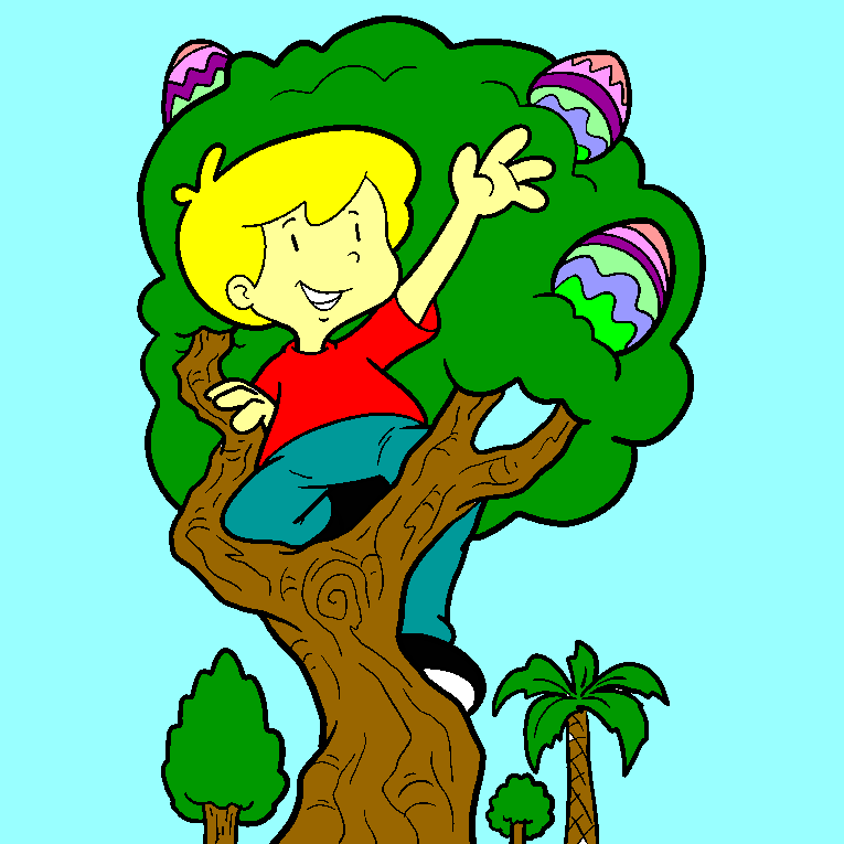 Boy looking for Easter egg in a tree