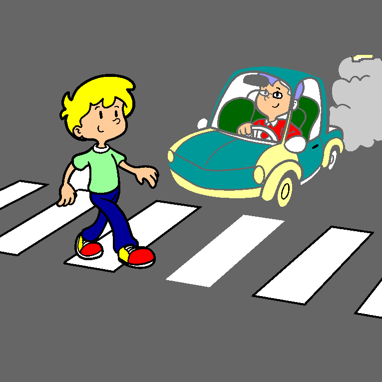 A boy goes over a crossing point