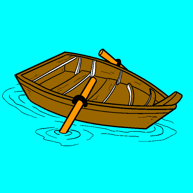 A wooden rowing boat
