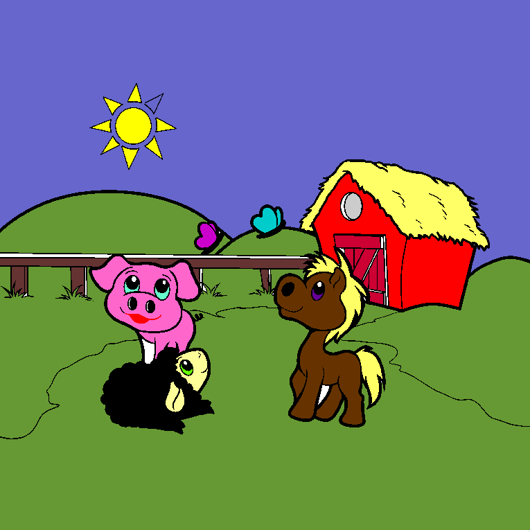 A lamb, a pig and a horse in front of the stable