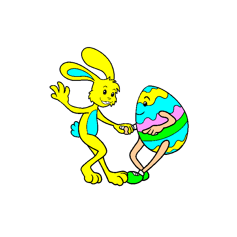A rabbit dances with an Easter egg