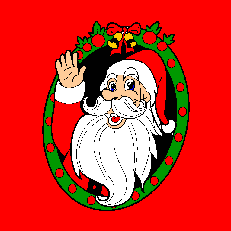 Close up of Santa Claus waving
