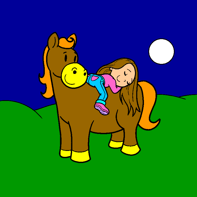 A girl lies down and rests on the horse back