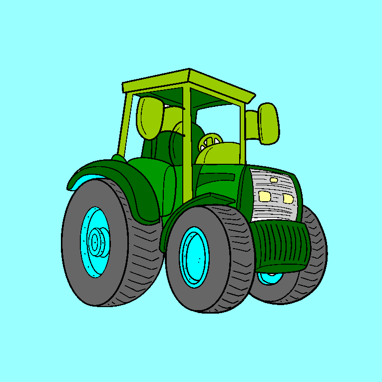 A tractor with big wheels, without driver