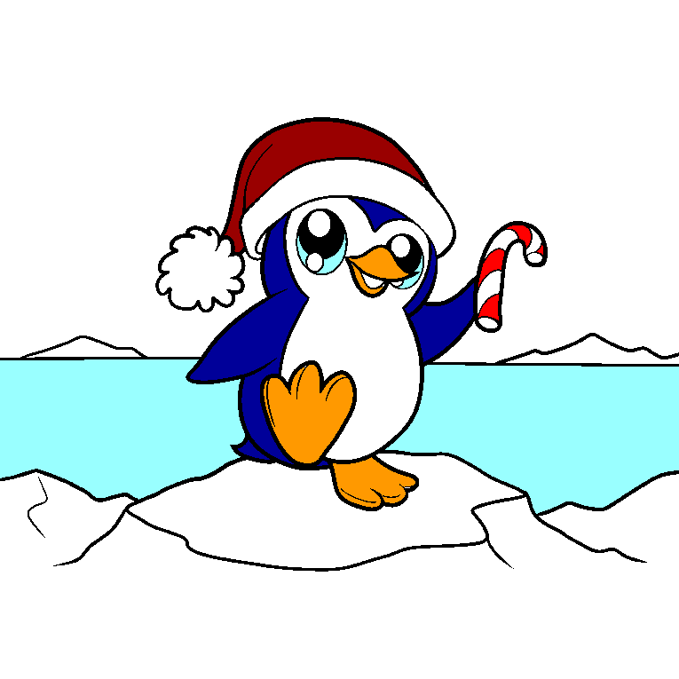 A baby penguin celebrates Christmas on an ice sheet