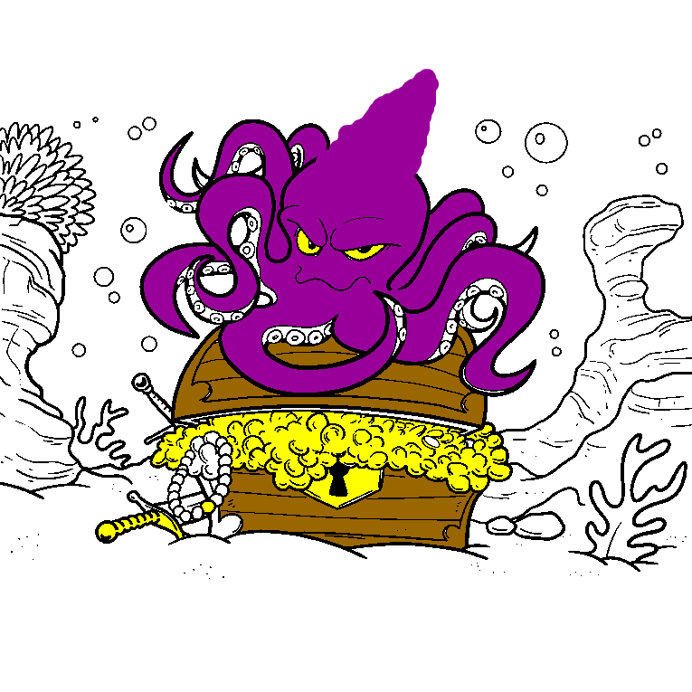 An octopus guards a treasure on the bottom of the ocean