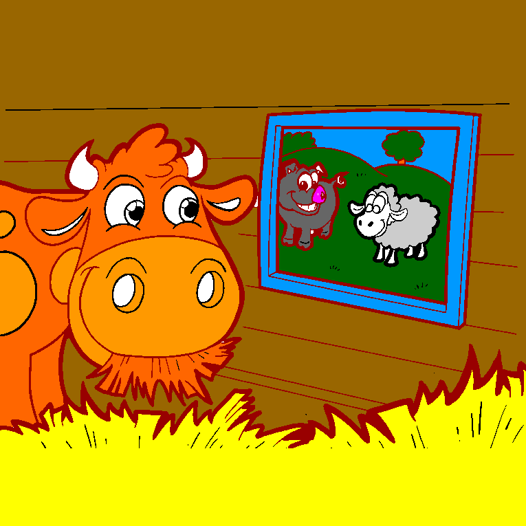 A cow looks out the window and sees a pig and a sheep.