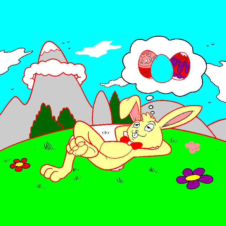 Easter bunny dreaming about eggs