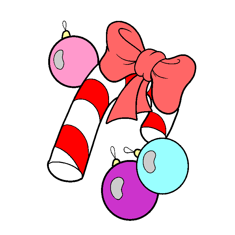Christmas decoration in the form of Christmas balls and Christmas candy cane