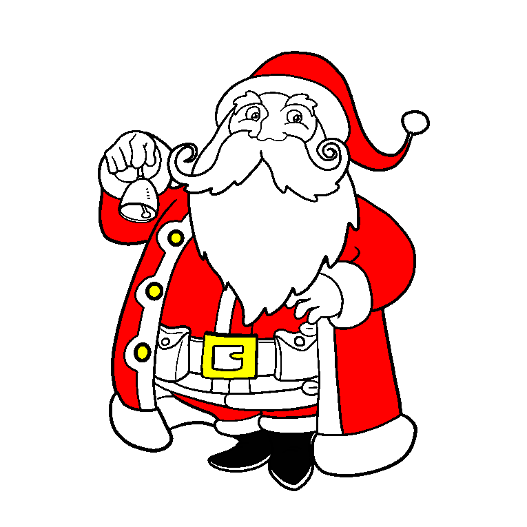 Santa Clause with big beard holding a small Christmas bell