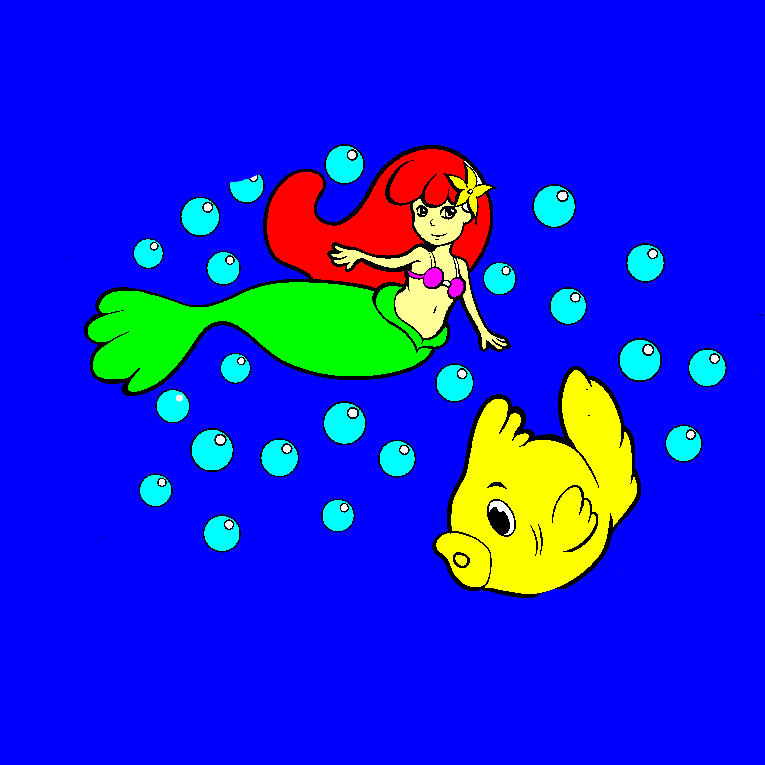 A mermaid and a fish swim in the water