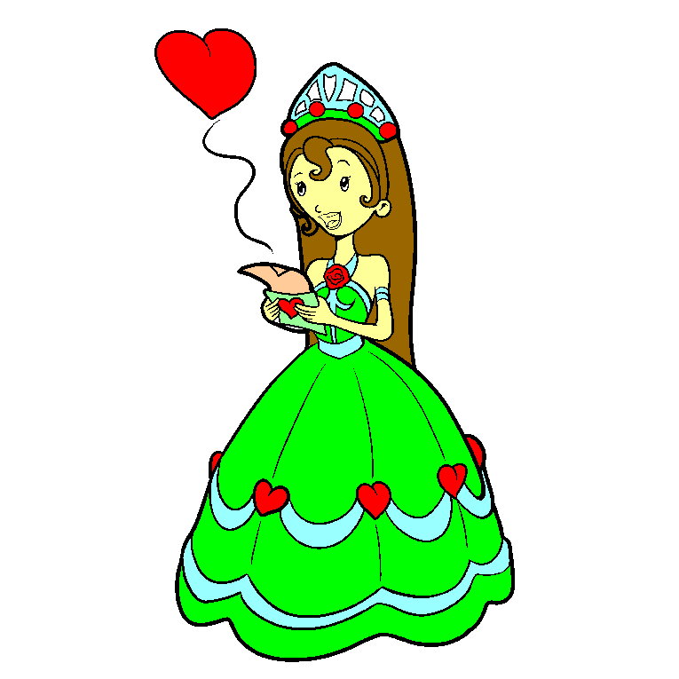 A princess opens a love letter