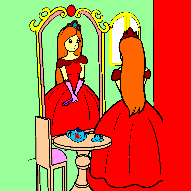 A princess in front of the mirror