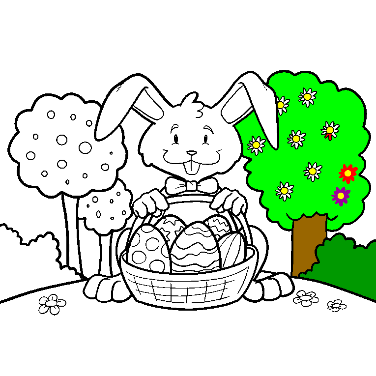Easter rabbit holding a basket filled with Easter eggs