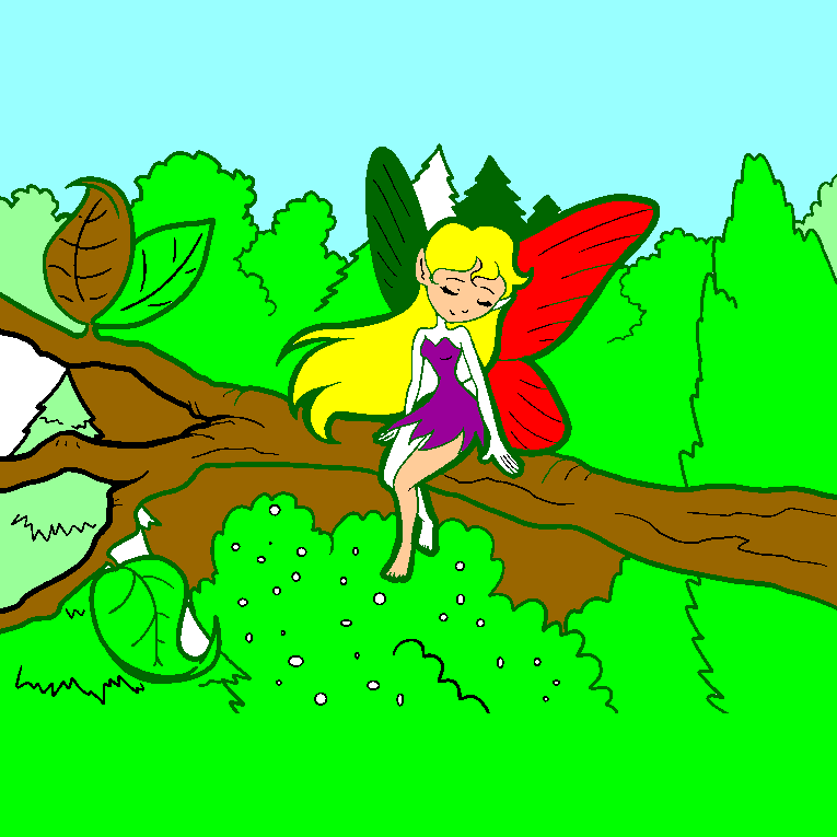 Fairy sitting on a tree branch