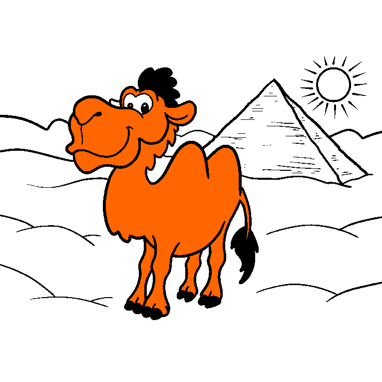 A camel in the hot dessert with a pyramid in the background.