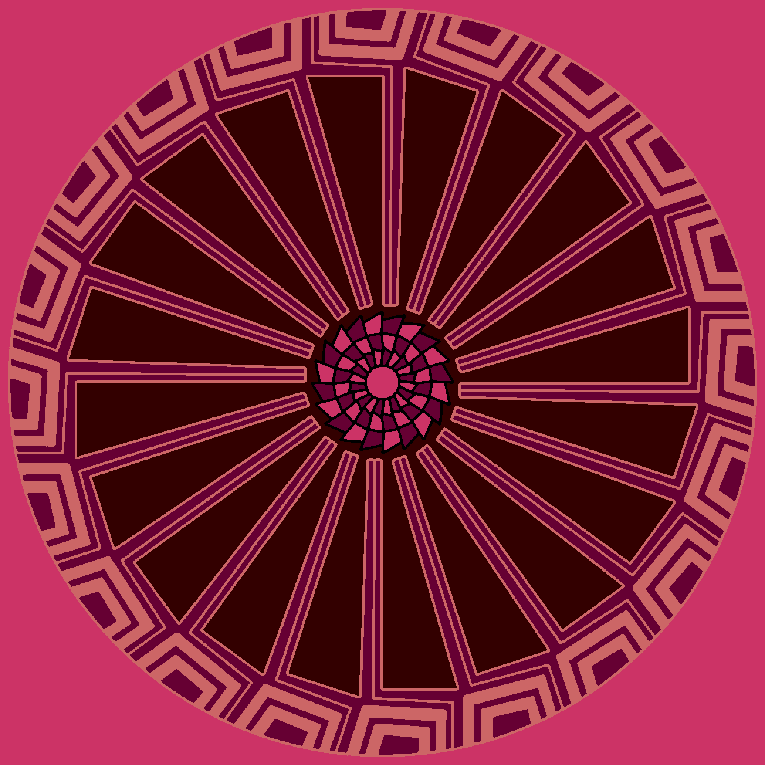 Mandala with a saw blade in the middle
