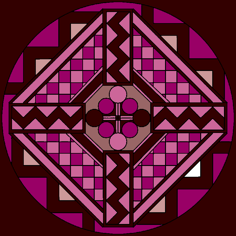 Mandala with circles, squares and other pattern