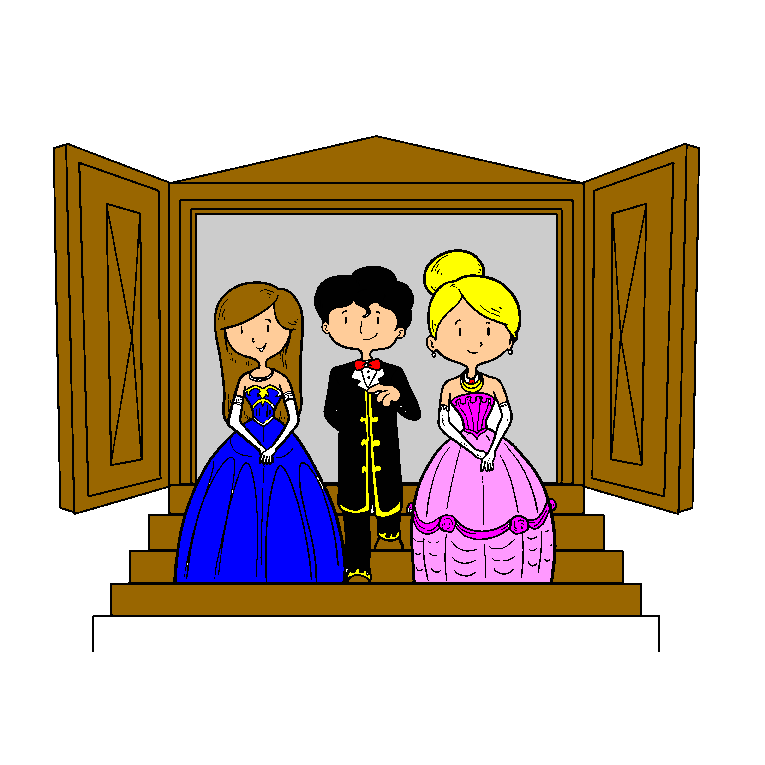 Groom and bride and marshal on a staircase