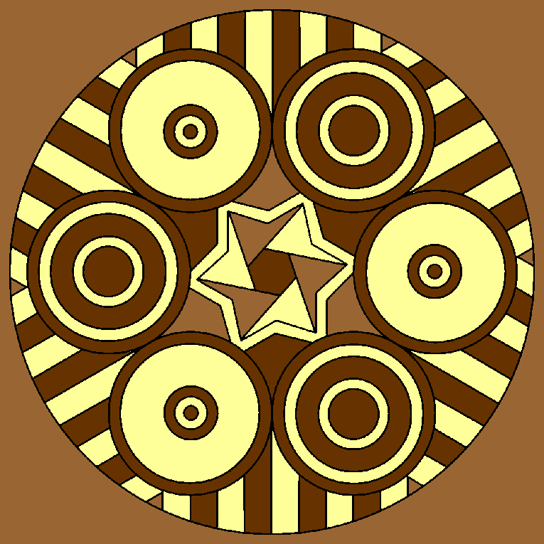 Mandala pattern with circles, stripes and stars
