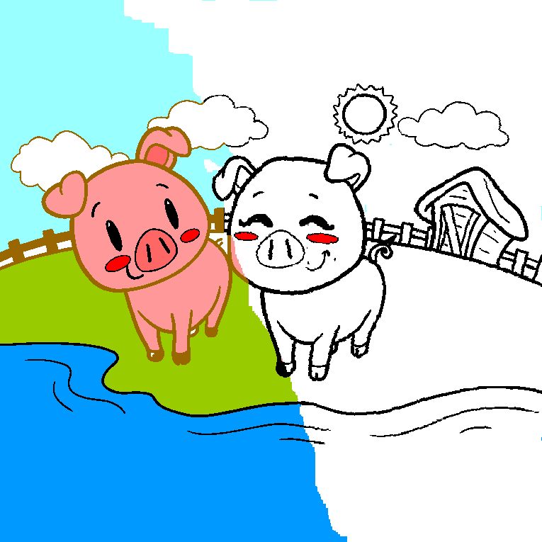 Two happy pigs on the farm