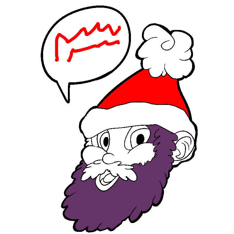 Santa's face with the accompanying talk bubble