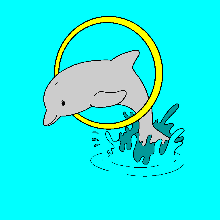 Dolphin jumps through a ring