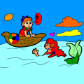Boat Red Orange Yellow Green Blue - Prince Princess Mermaid, 236
