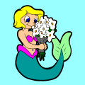 Girl Daisy - Mermaid Flower, 123
