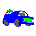 the blue car with black wheels - isaiah, 8